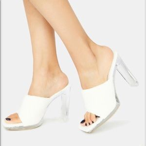 New square clear heel